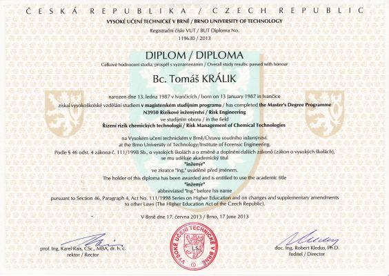 Diplom Tomáš Králik