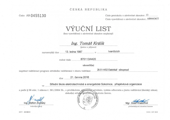 Výuční list Tomáš Králik